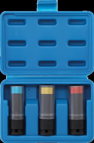 3 pi/èces | 17 // 19 // 21 mm BGS 7300 entrada 12,5 mm 1//2 Juego de vasos de impacto con protector de pl/ástico